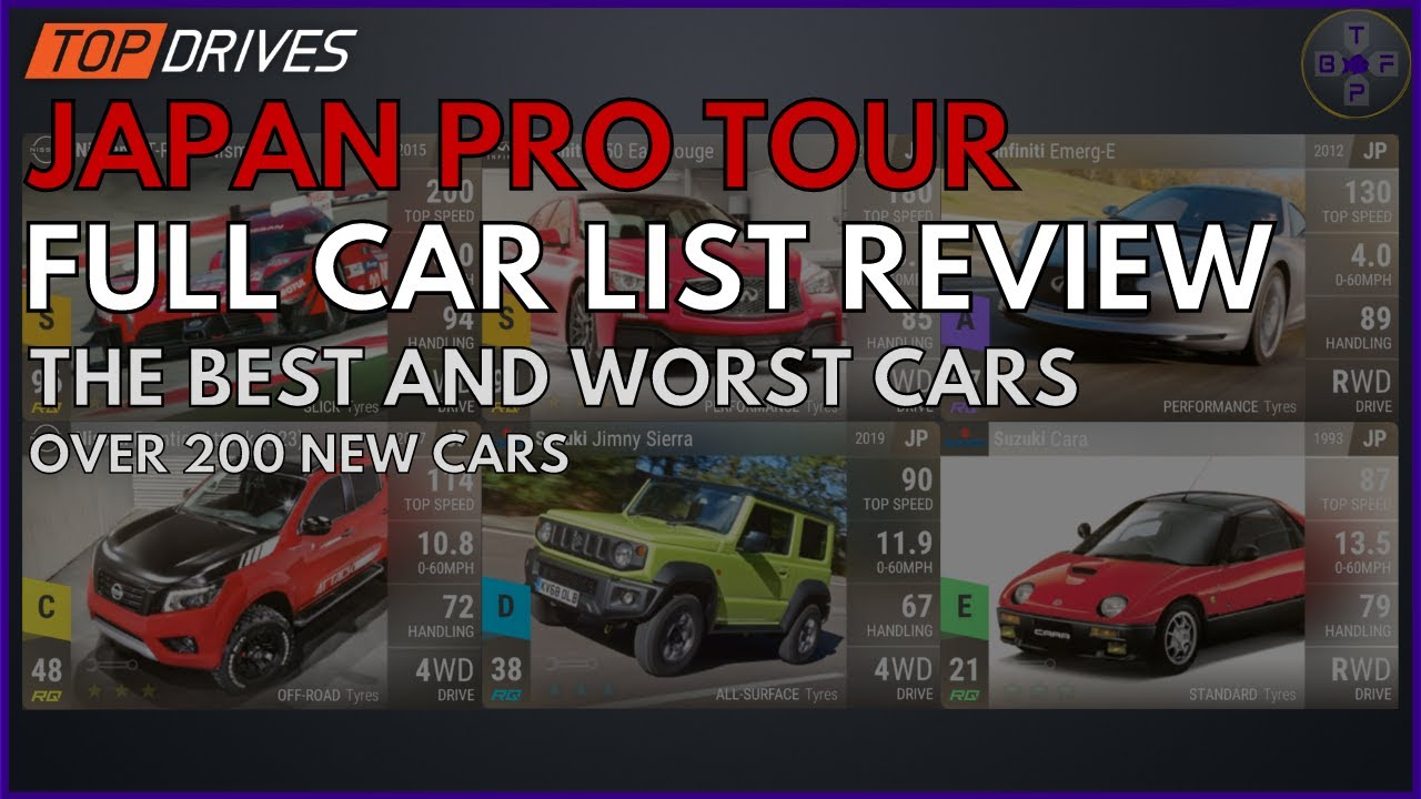 Top Drives : JAPAN PRO TOUR FULL CAR LIST REVIEW   Best & Worst Cars Of The Update